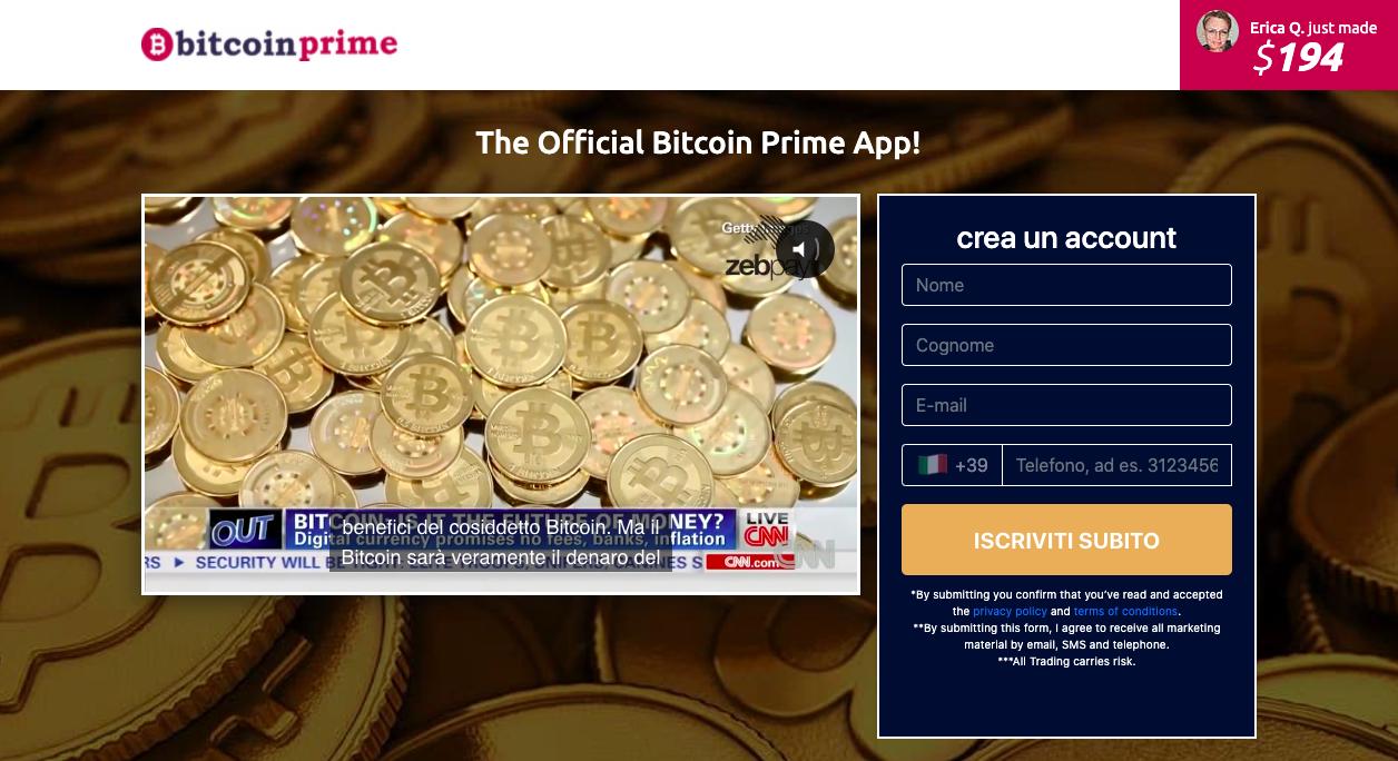 Bitcoin Prime pagina iniziale del sito, fidarsi o meno